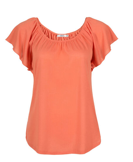 Flutter Sleeve Knit Top, Peach, hi-res
