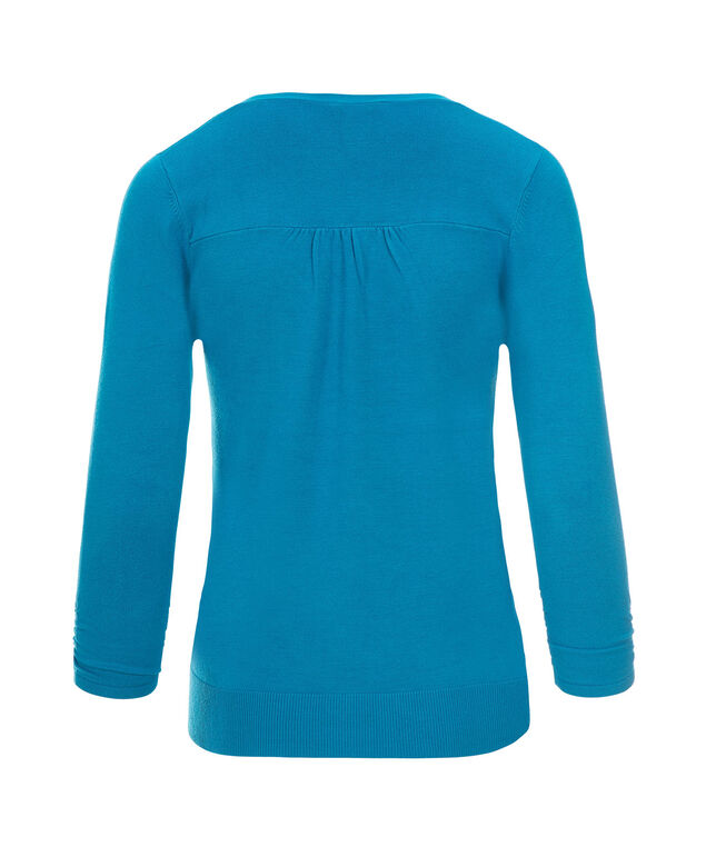 Ruched Sleeve Cardi, Turquoise, hi-res