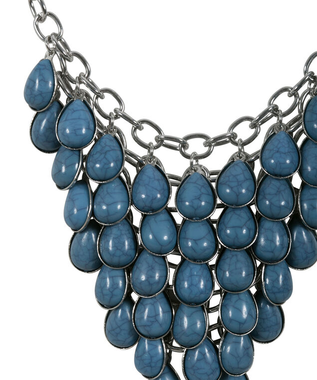 Layered Natural Stone Necklace Set, Teal/Rhodium, hi-res
