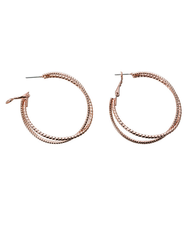 Criss Cross Hoop Earring, Rose Gold, hi-res