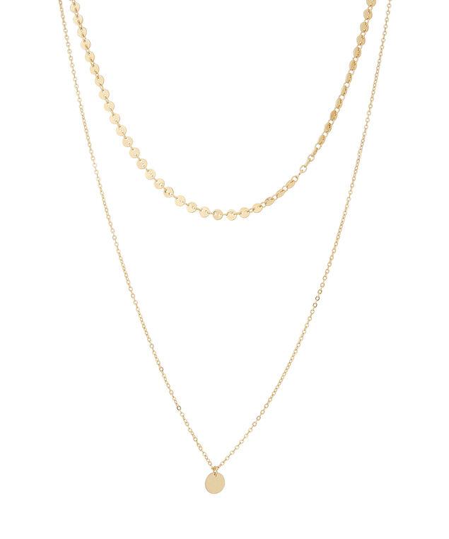 double strand disc pendant necklace, GOLD, hi-res