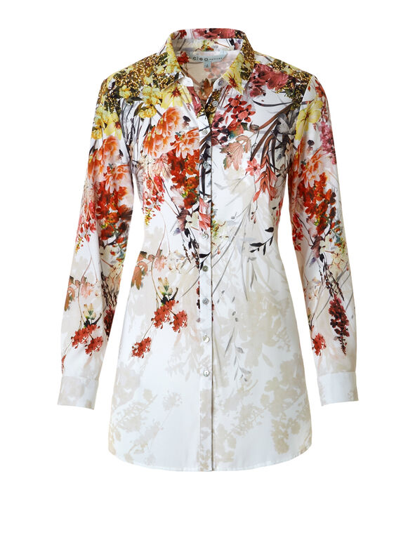 Ivory Floral Button Front Blouse, White Floral Print, hi-res