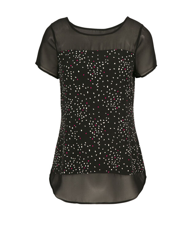 Illusion Neck Tee, Black Pattern, hi-res