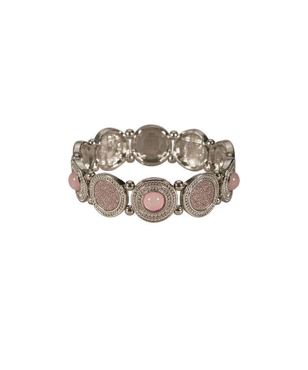 Textured Circle Glitter Bracelet, Misty Pink/Rhodium, hi-res
