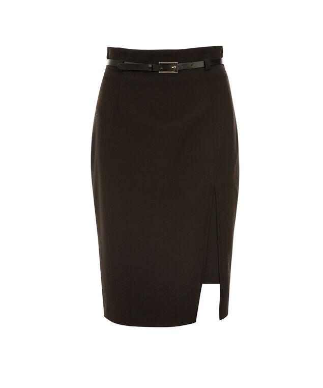 High Waist Slit Pencil Skirt, Black, hi-res