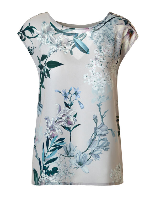 Floral Back Keyhole Top, Grey/Turquoise/Blue Cloud, hi-res