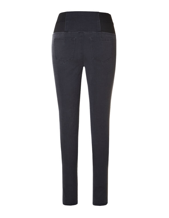 Grey High Waisted Pull-On Jegging, Grey/Black, hi-res