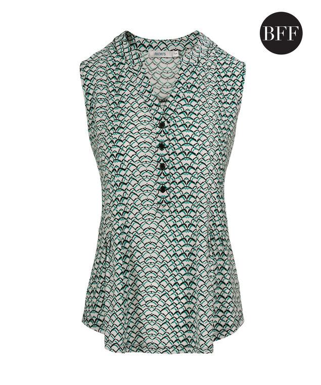 Sleeveless Pintuck Shirt, Tropical Teal Print, hi-res