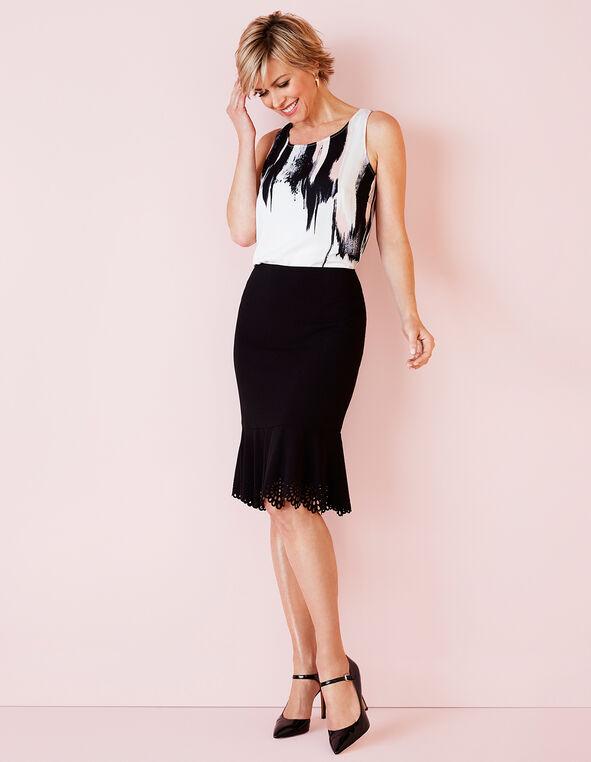 Black Laser Cut Trumpet Skirt, Black, hi-res
