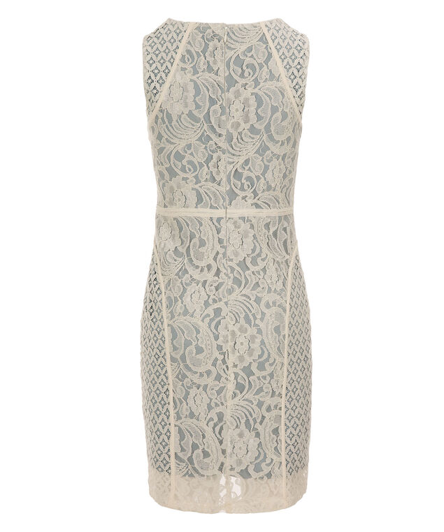 Sangria Banded Lace Overlay Dress, White/Blue, hi-res