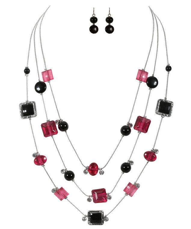Stationed Bead Necklace Set, Pink/Black/Rhodium, hi-res