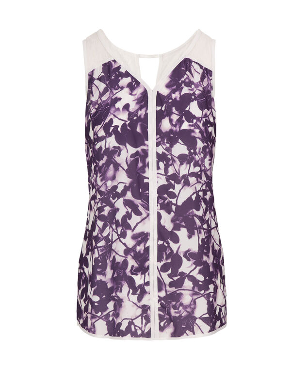 Lace Trim Mix Media Tank, Purple Pattern, hi-res