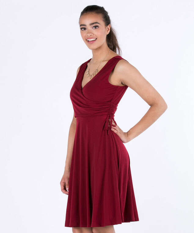 Drawstring Side Knit Dress, Cranberry, hi-res