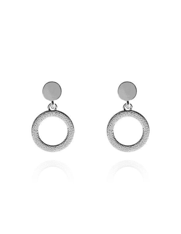Rhodium Circle Drop Earring, Rhodium, hi-res