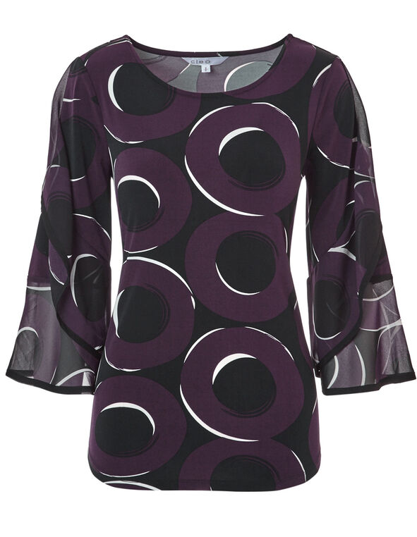 Printed 3/4 Sleeve Chiffon Top, Black/Ivory/Plum, hi-res