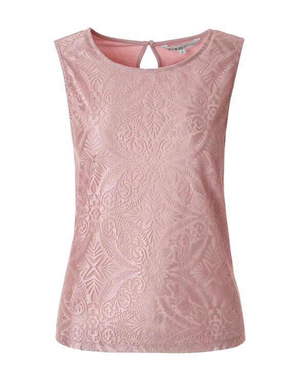 Soft Pink Paisley Sleeveless Top, Soft Pink, hi-res