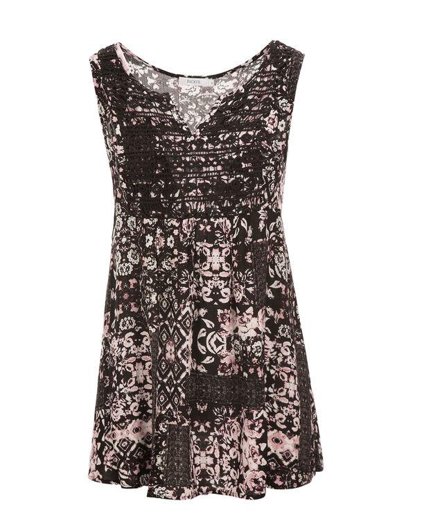 Crochet Bib Tunic, Pink Print, hi-res