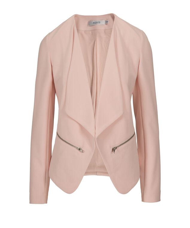 Drape Front Blazer, Misty Pink, hi-res