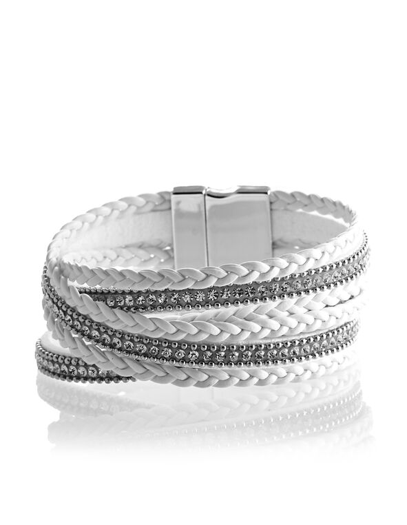 White Wrap Cuff Bracelet, White/Silver, hi-res
