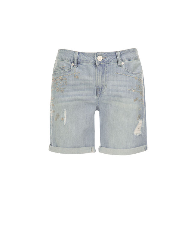 One5One Embroidered Bermuda Short, Denim, hi-res
