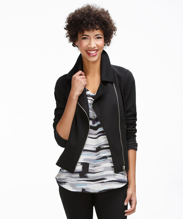 Knit Moto Blazer, Black, hi-res