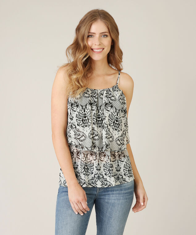 double layer cami, BLK/WHT PRT, hi-res