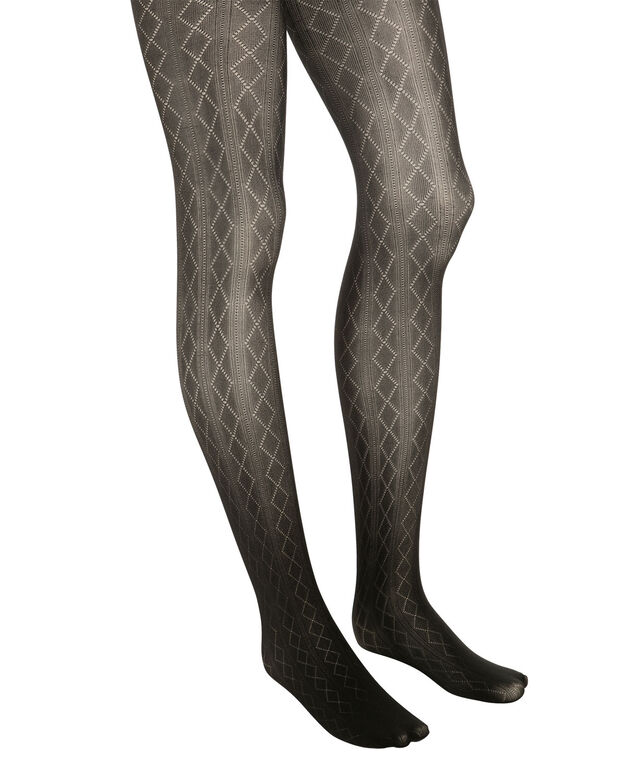Textured Diamond Tights, Black, hi-res