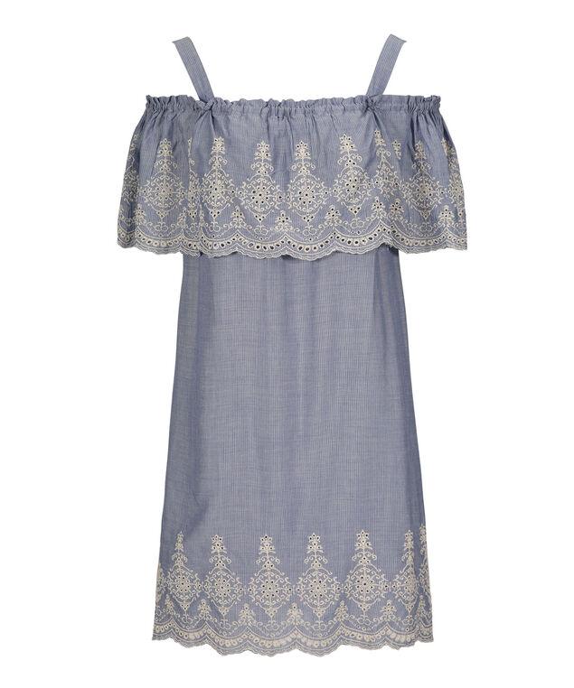 Luxology Cold Shoulder Trapeze Dress, Denim/Ivory, hi-res
