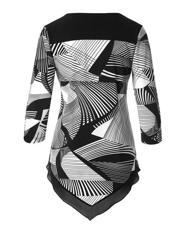 Geo Print Chiffon Tunic, Black/Ivory, hi-res
