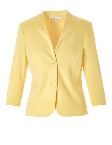 Yellow 3/4 Sleeve Blazer, Yellow, hi-res