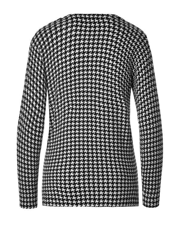 Houndstooth Cardigan Sweater, Black/White, hi-res