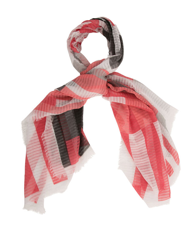 Burnout Stripe Print Scarf, Light Coral/Coral/Black, hi-res