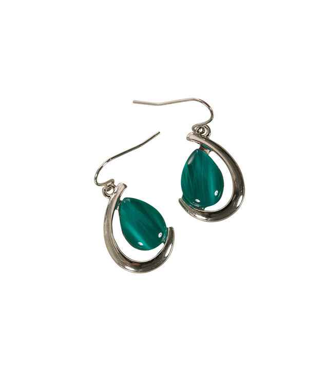 Teardrop Cateye Earring, Tropical Green/Rhodium, hi-res