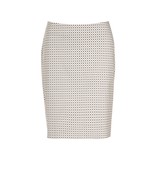 Sateen Pencil Skirt, White/Black, hi-res