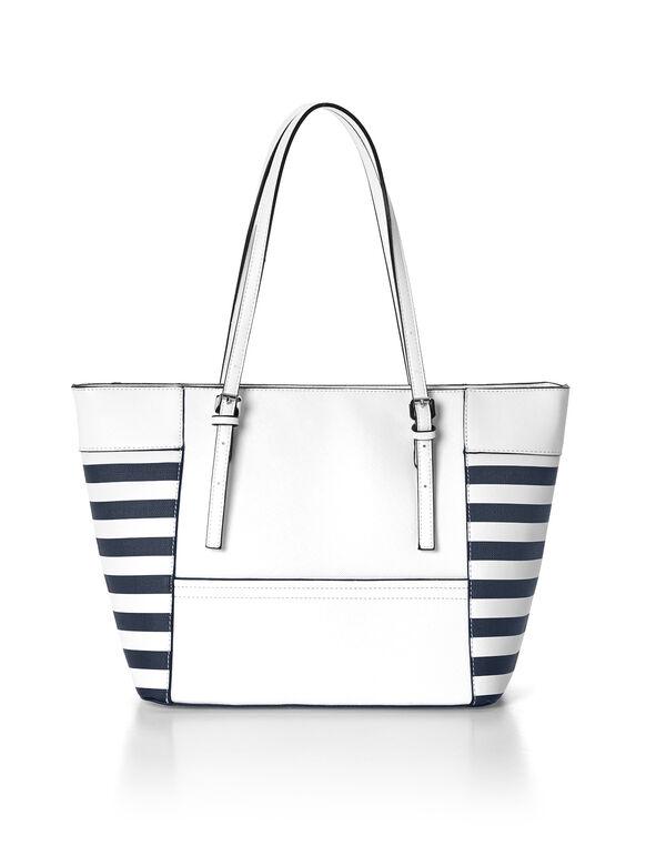 Navy Stripe Tote Handbag, White/Navy, hi-res