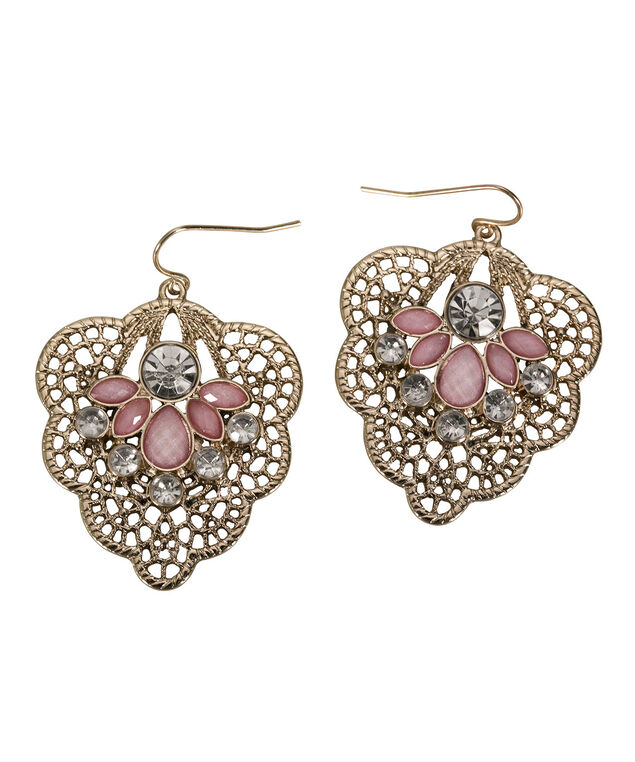 Cutout Crystal Leaf Earring, Pink/Soft Gold, hi-res