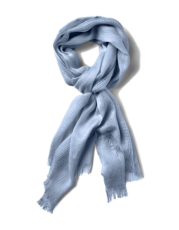 Washed Blue Waffle Knit Scarf, Washed Blue, hi-res