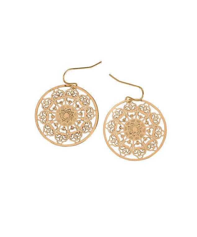 Filigree Sunburst Earring, Antique Gold, hi-res