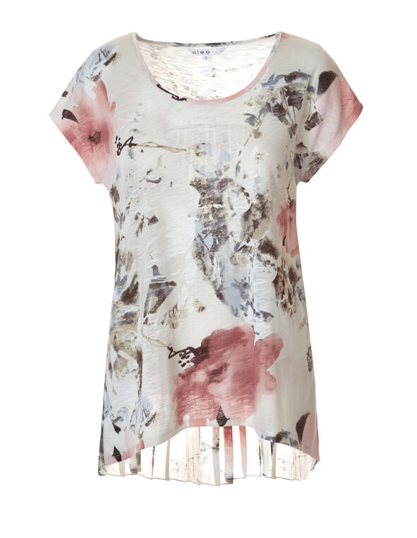 Floral Print Sublimation Top, White/Peony/Washed Blue, hi-res