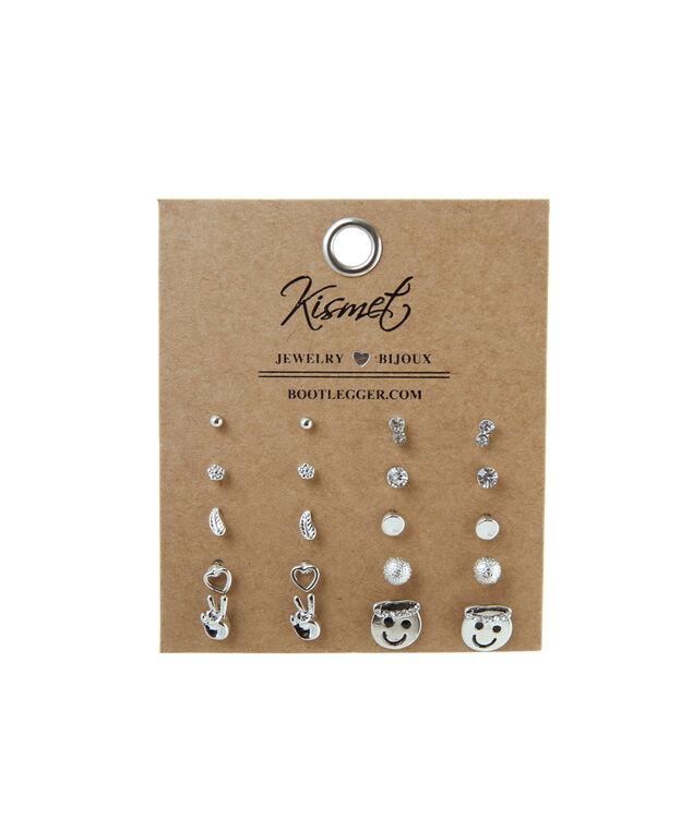 multiple pack of stud earrings, SILVER, hi-res