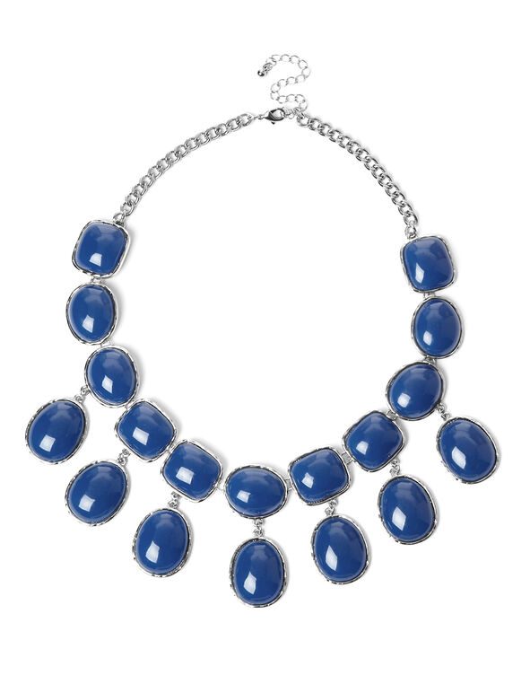 Blue Shimmer Statement Necklace, Blue/Silver, hi-res