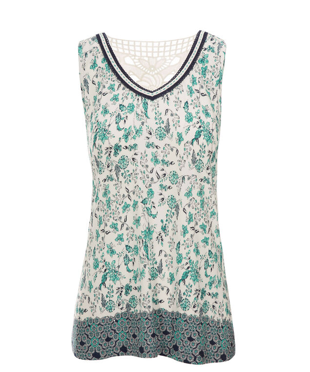 Crochet Trim Tank, Mint Print, hi-res