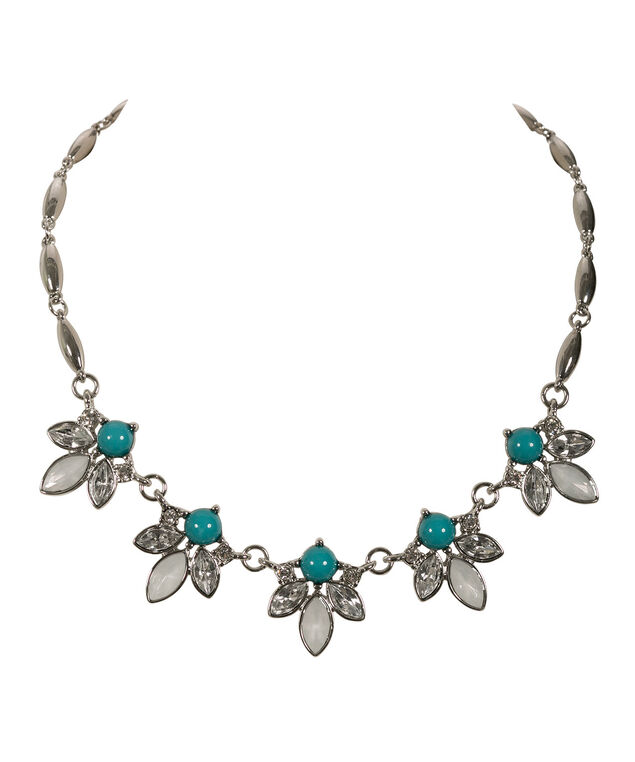 Pointed Circle Statement Necklace, Tropical Teal/Rhodium, hi-res