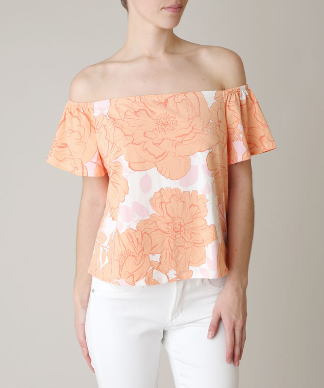 off the shoulder amore tee - wb, POPPY PRINT, hi-res