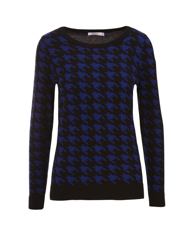 Houndstooth Pullover, Black.Blue, hi-res