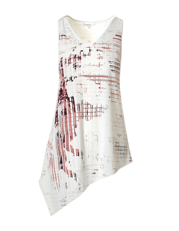 Asymmetrical Digital Print Tunic, White/Soft Pink, hi-res