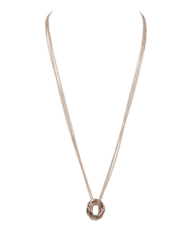 Intertwined Ring Necklace, Rose Gold, hi-res