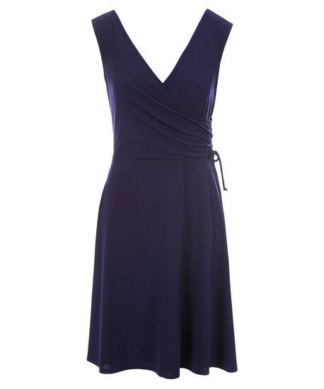 Drawstring A-Line Dress, Indigo, hi-res
