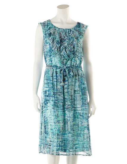 Aqua Ruffle Front Dress with Belt, Aqua/Cobalt/Black, hi-res