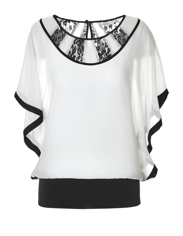 White Lace Caftan Blouse, Ivory/Black, hi-res